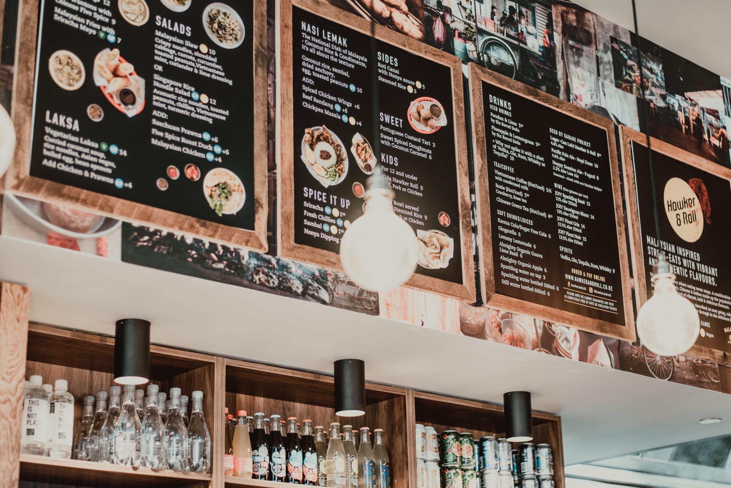 Carte de choix au restaurant
