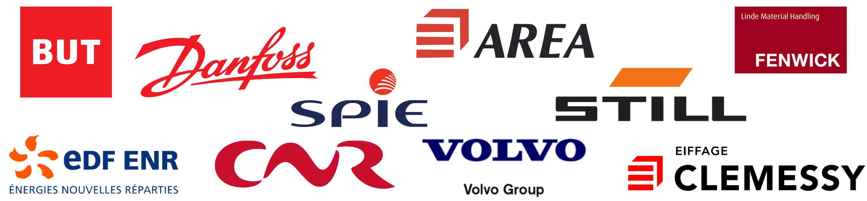 Logo clients Secutop : But, Spie, EDF-ENR, CNR, Volvo, Danfoss, Area, Still, Eiffage, Fenwick