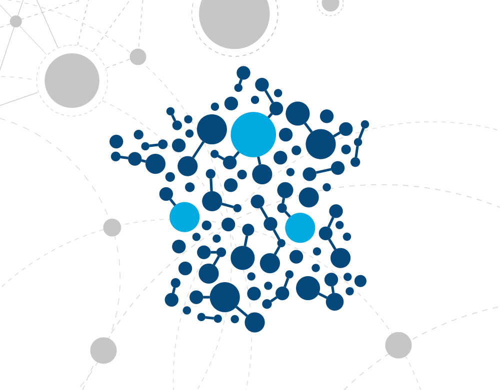 Représentation de la France avec points liés les uns aux autres de partout