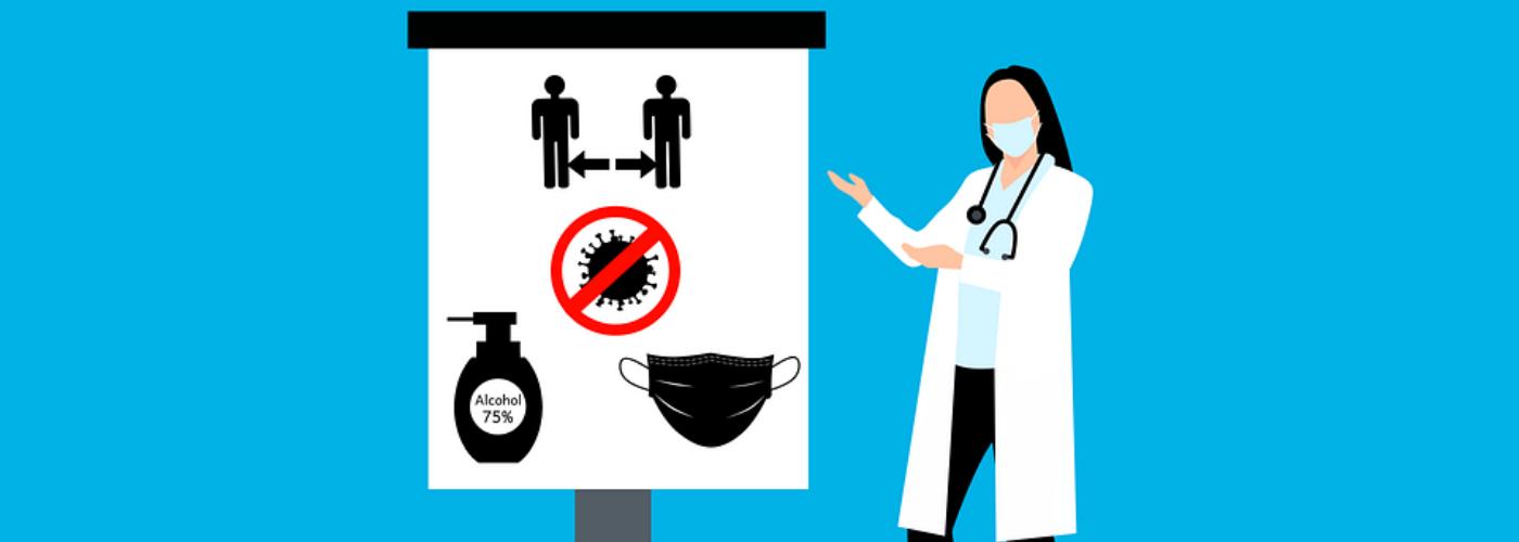 femme désignant les gestes sanitaires requis sur un tableau
