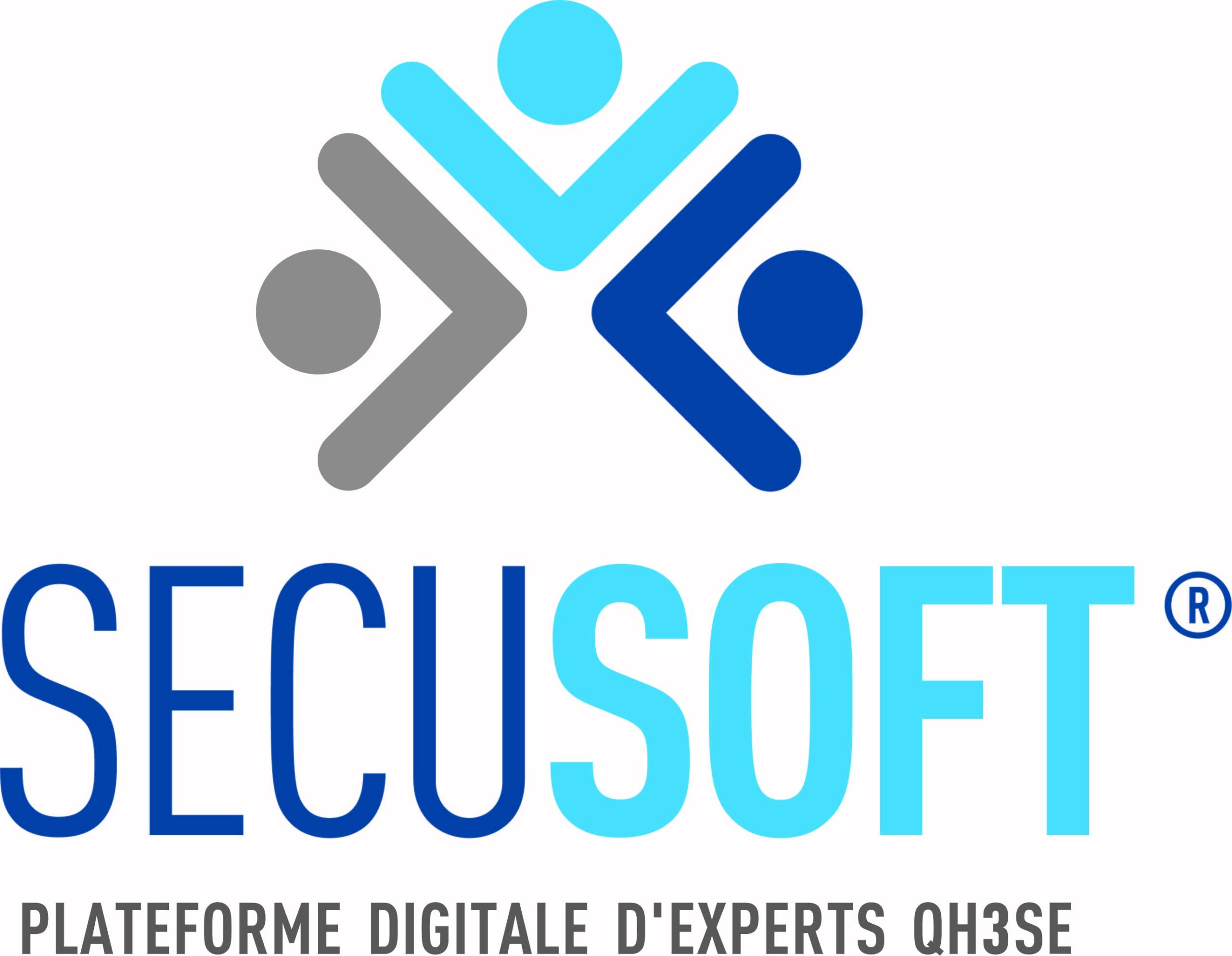 Logo secusoft avec sa baseline : Plateforme digitale d\'experts QH3SE