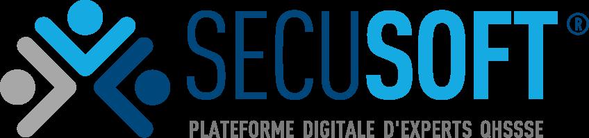 """Logo sécusoft : gris, bleu clair et bleu foncé. Slogan : """"Plateforme digitale d'experts QH3SE"""""""
